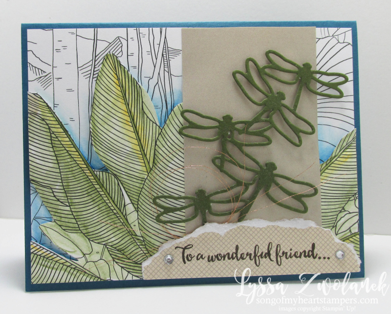 Dragonfly Dreams watercoloring jungle foilage Inside The Lines papers SAB Stampin Up