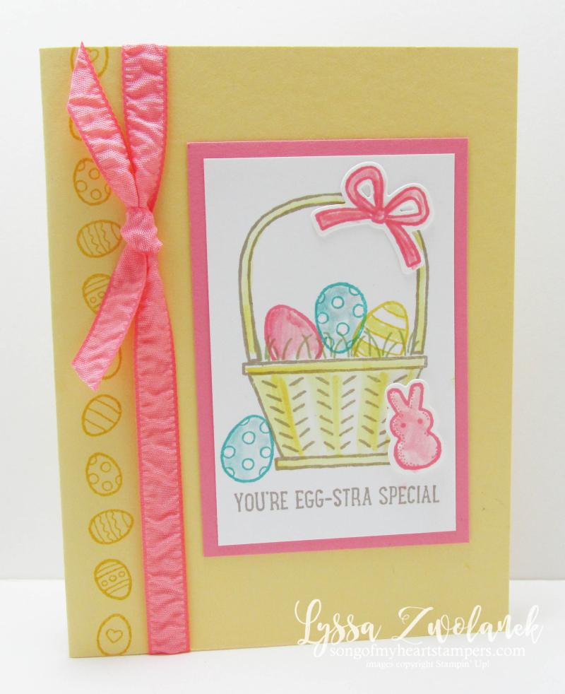 Basket Builders Easter baskets peeps peep chick eggs egg Stampin Up spring Lyssa card