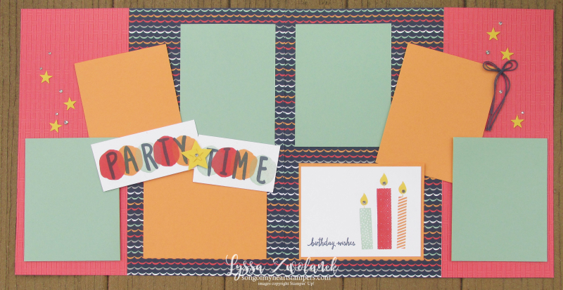 Striped scrapbooking party time layout scrapbook spread Stampin Up Layered Letters stars birthday 12x12