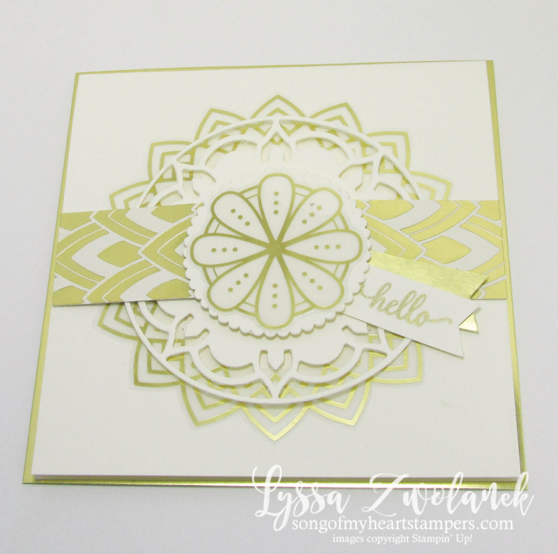 White Gold Eastern Palace diecut Sizzix Stampin Up wedding formal invitations square card handmade Lyssa