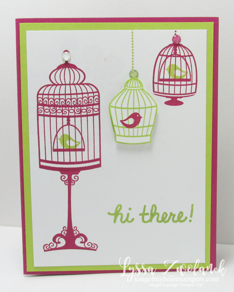 Birdcage Builder stampin up bird cage rubber stamping DIY techniques Lyssa cardmaking