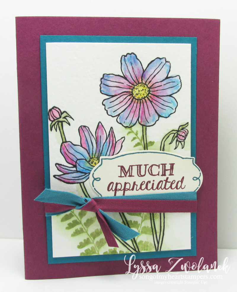 Helping Me Grow Stampin Up rubber stamps cardmaking Lyssa floral watercoloring techniques