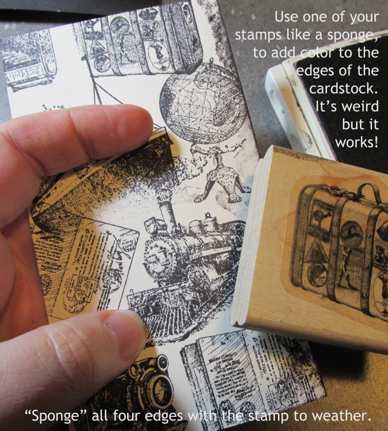 Dragging technique rubber stamping weathering Stampin Up Lyssa tutorial cardmaking