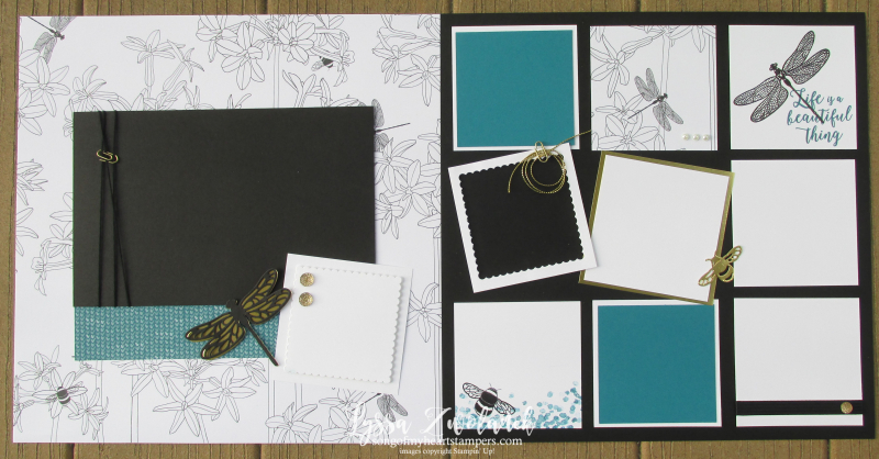 Dragonfly Dreams scrapbook page scrapbooking layouts Stampin Up Lyssa traditional scrapbook