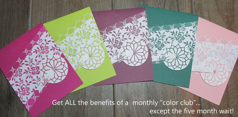 Imagine in color cards Lyssa stampin up incolors bundle offer share ribbon sampler