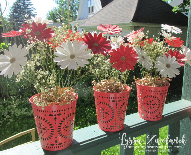 Daisy Punch Bouquet tin pail bucket punches floral stem wire DIY centerpiece craft paper flowers