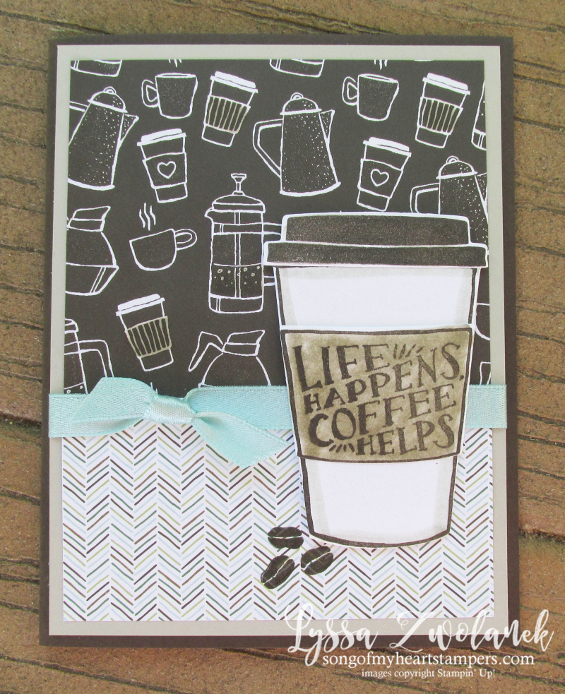 Coffee Cup To Go Cafe Break Time scrapbooking papers DIY cardmaking Stampin Up shop with Lyssa