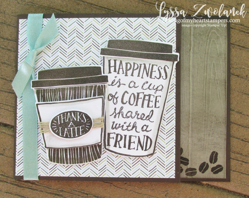 Coffee Bean Cup Pot Cafe Break Time scrapbooking papers DIY cardmaking Stampin Up shop with Lyssa