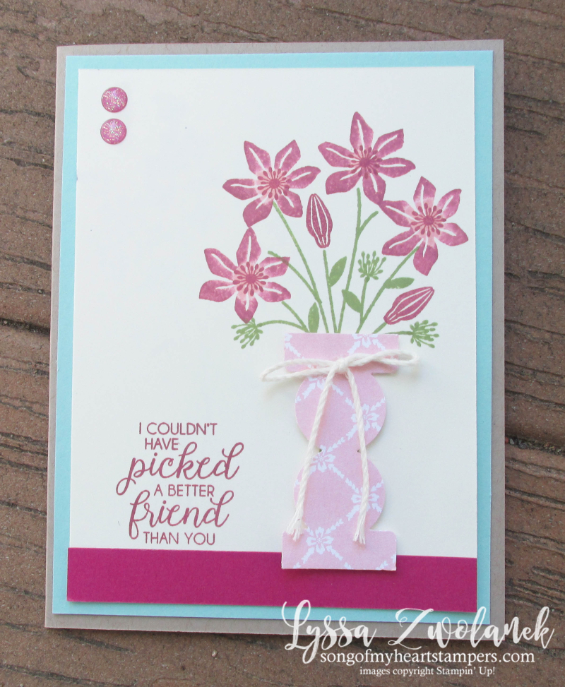 Punch Art Beautiful Bouqet Vase rubber stamping techniques Stampin Up