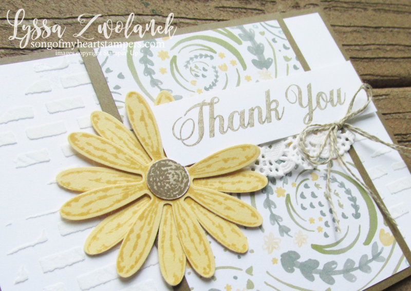 Delightful Daisy Punch Bundle Stampin Up shop Lyssa embossing paste bricks wall rubber stamps art