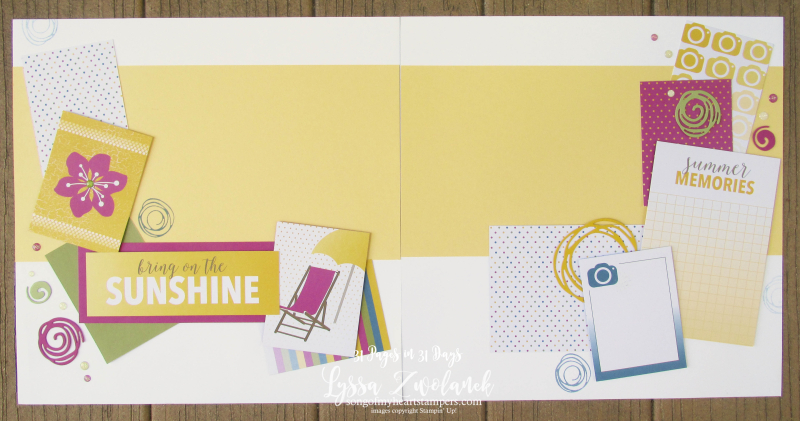 31 pages days scrapbooking summer school Stampin Up sunshine summer memories layout scrapbook spread
