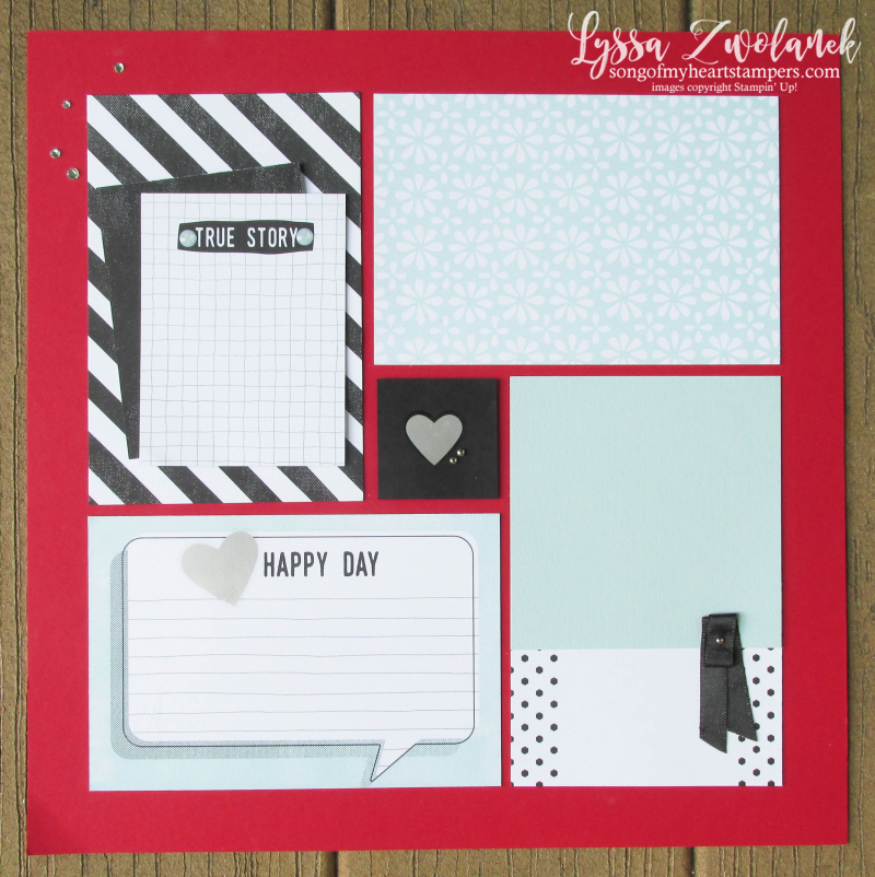 Perfect Days memories more stampin up pages 31 days Lyssa scrapbooking layout traditional scrapbook