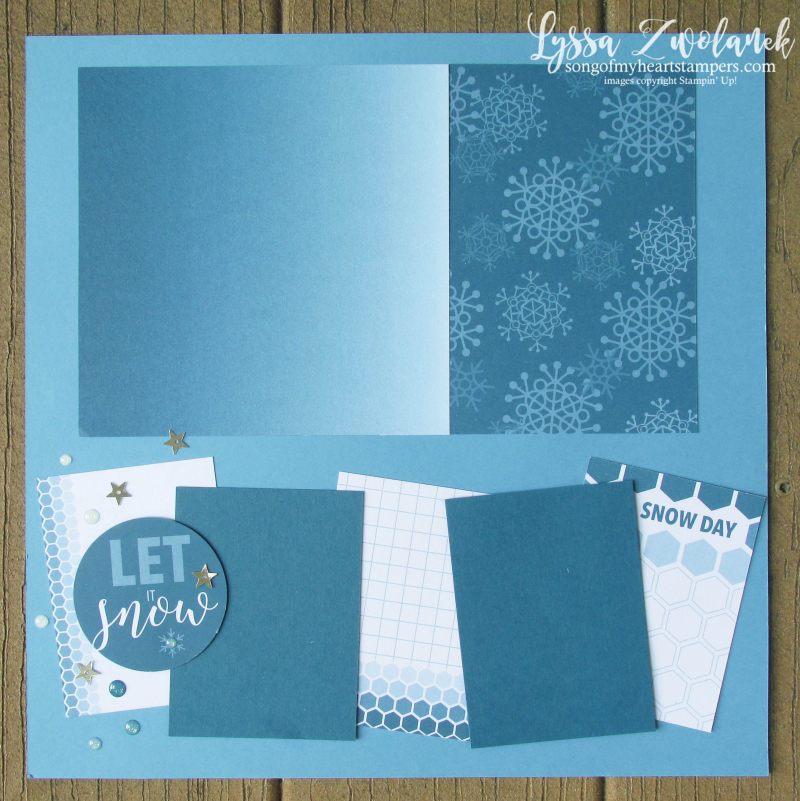 Let it Snow Christmas snowman pages stampin up 31 days scrapbooking color theory layouts Lyssa