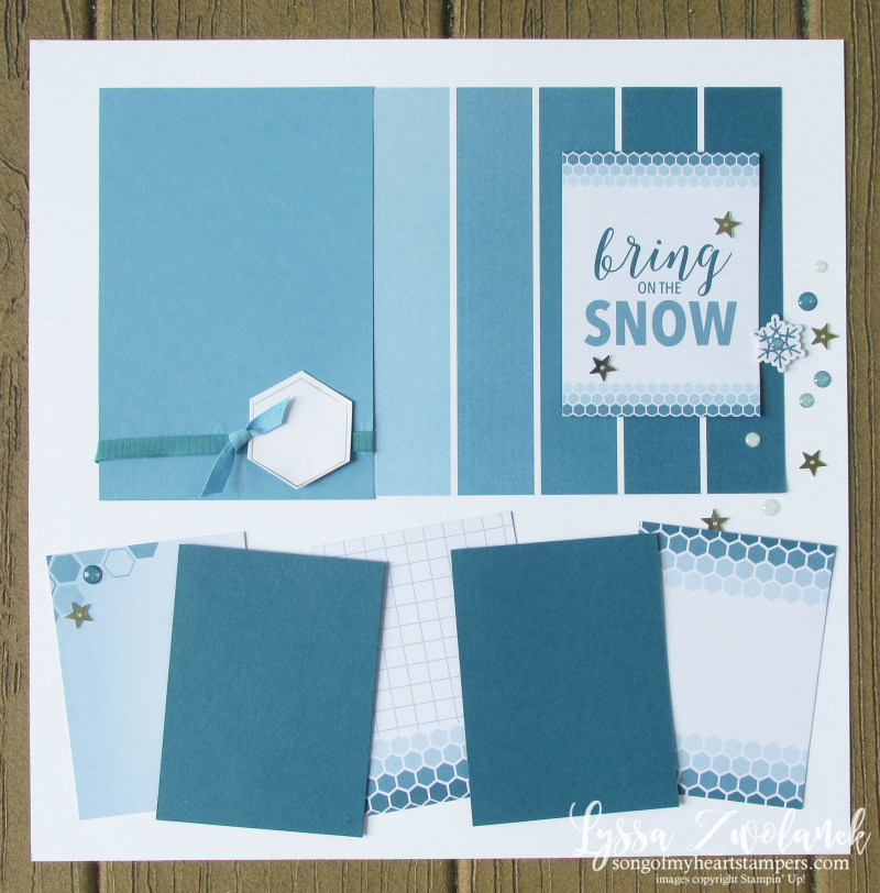 Let it Snow Christmas snowman pages stampin up color theory 31 days scrapbooking layout Lyssa