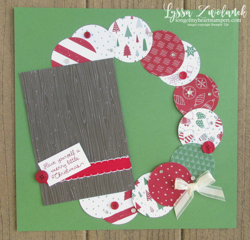 Be Merry Christmas Wreath scrapbook layout 31 pages days page stampin up Lyssa