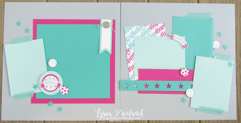 Birthday hooray pages days 31 stampin up scrapbooking layout challenge Lyssa shop