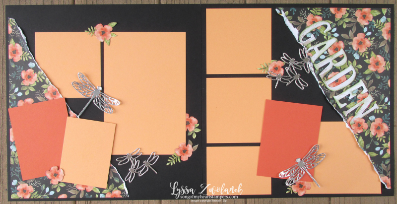 Garden Layout pages days whole lotta lovely Stampin Up papers wood dragonflies 12x12 scrapbooking series Lyssa