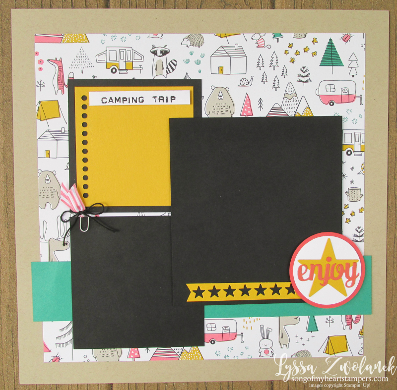 Camping Trip spread layout scrapbook pages stampin up Lyssa album 31 series pages days