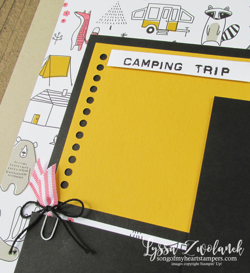 Camping Trip spread layout scrapbook pages stampin up Lyssa album series 31 pages days