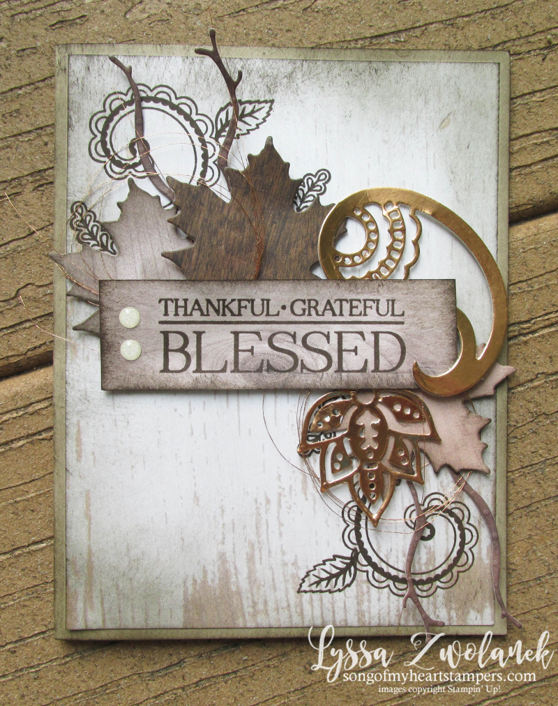 Colorful Seasons autumn fall leaves Paisley Posies Stampin Up thinlets Lyssa wood textures