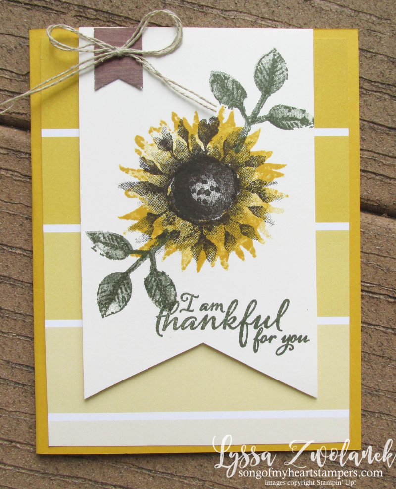 Sunflowers Color Theory Painted Harvest Autumn fall thanksgiving papers Stampin Up Lyssa