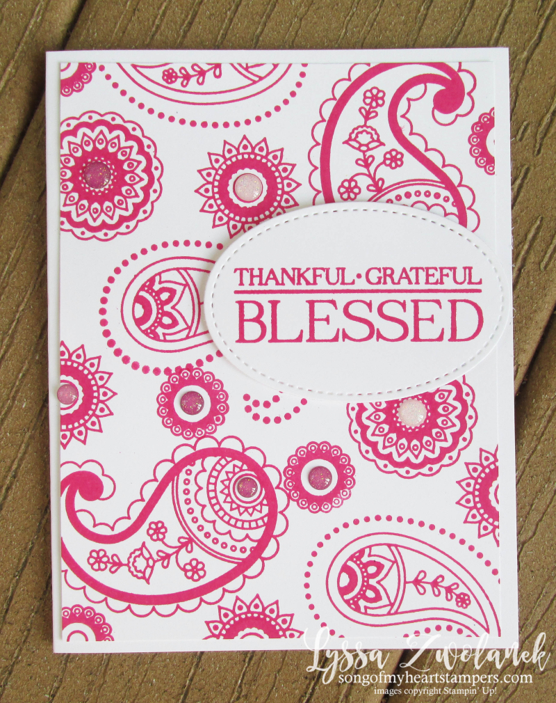 Paisleys and Posies Stampin Up DIY cardmaking hot pink Lyssa Stitched Shapes framelits