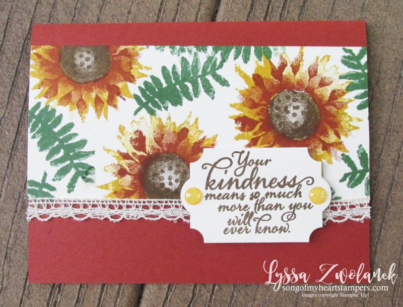 Painted Harvest sunflowers thanksgiving thankful card Stampin Up Lyssa Autumn