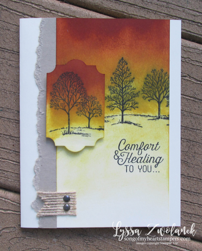 Lovely As Tree Stampin Up Lyssa sympathy healing leaves trees rubber stamping cardmaking
