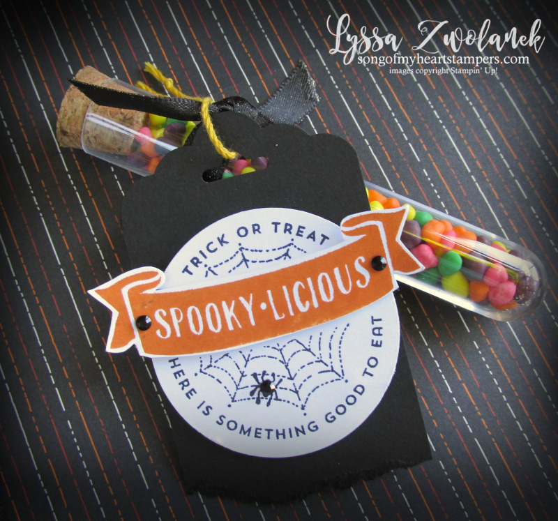Halloween treat tubes candy holders acetate card boxes stampin up Lyssa Nerds M&M scalloped tag topper  punch