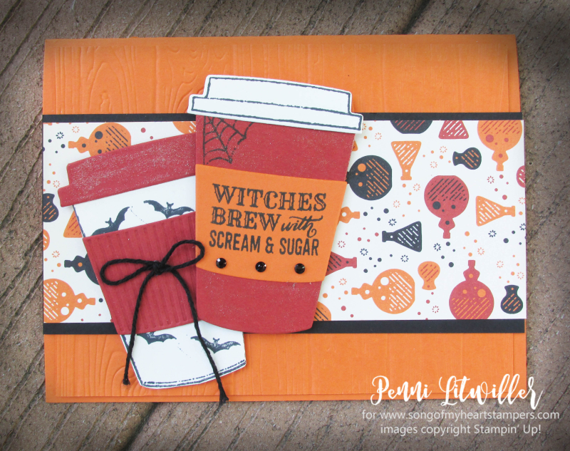 Halloween pumpkin witches brew latte coffee gift card holder Stampin Up Merry Cafe Lyssa