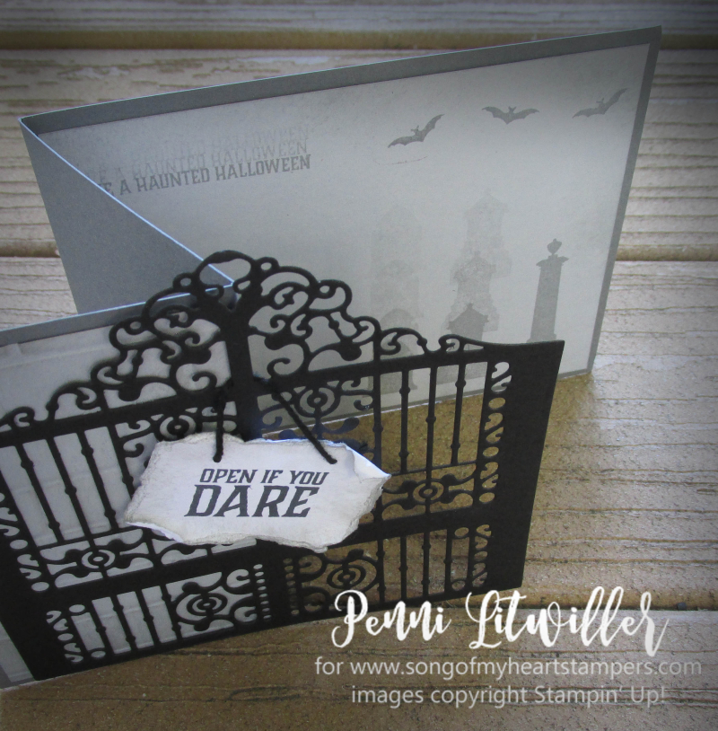 Detailed Graveyard Gate Thinlets zfold z-fold card haunted gravestones halloween Stampin Up