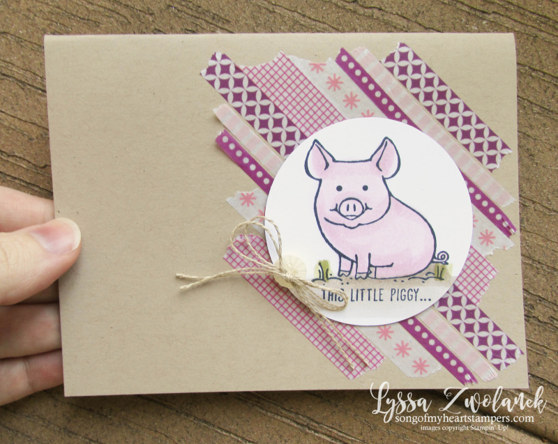 This Little Piggy piggies pig Stampin Up barnyard blends alcohol markers washi tape