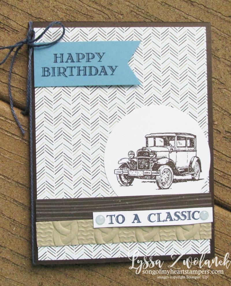 Antique car guy greetings masculine cards truck men Stampin Up blends