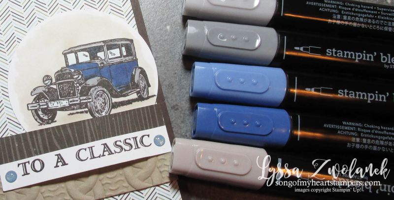 Antique car guy greetings masculine cards truck man Stampin Up blends