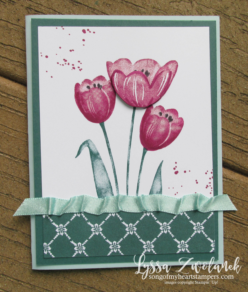 Tranquil Tulips ruched ribbon Tear Tape stampin up tutorial