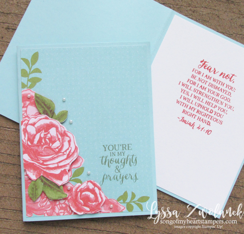 Petal garden papers stampin up fussy cut roses thoughts prayers scripture verse card Isaiah 41 10