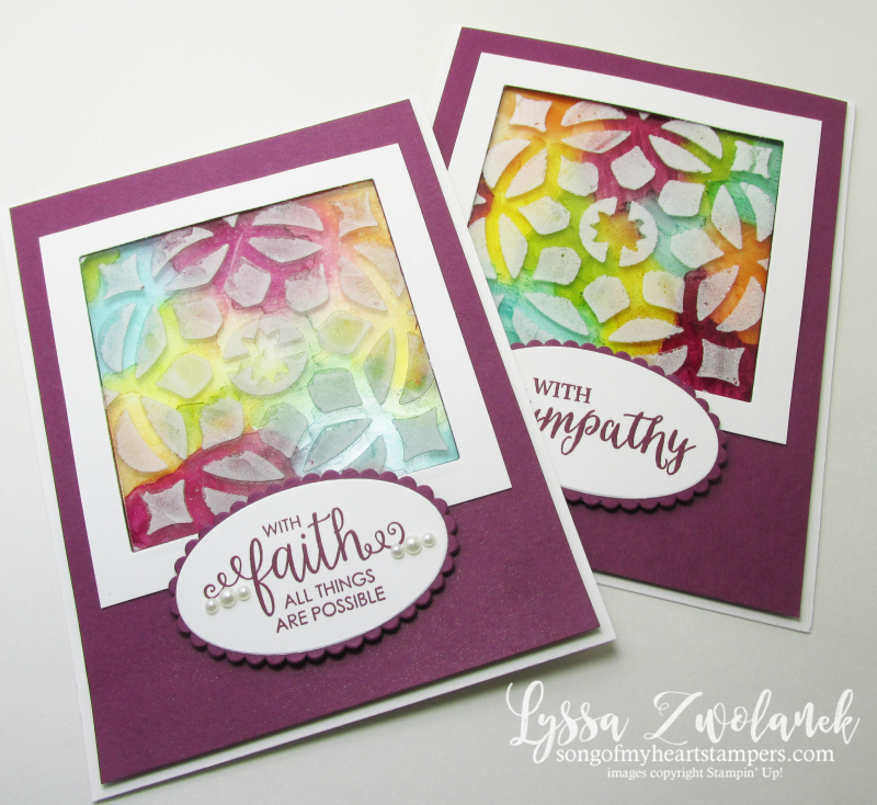 Stained Glass Embossing Paste acetate window card clear stampin up tutorial Lyssa Ribbon sympathy