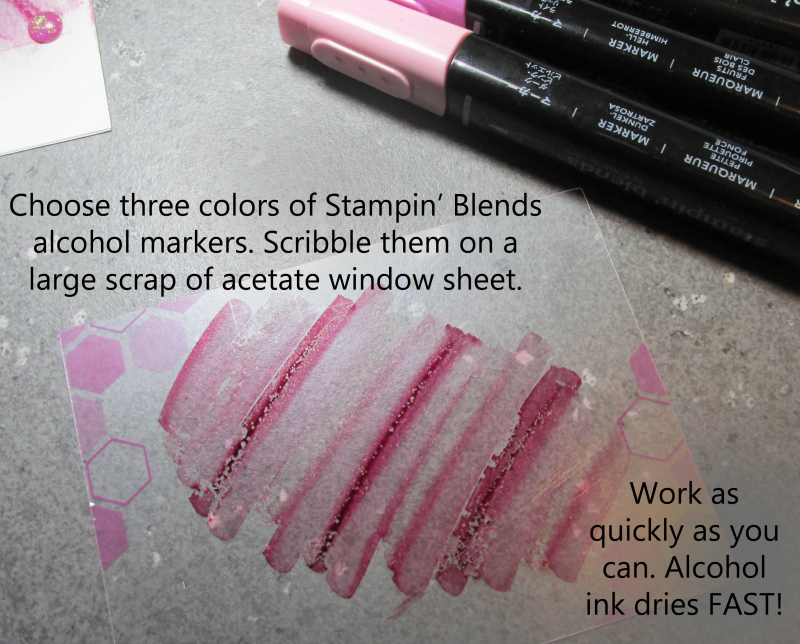 Acetate Transfer Technique tutorial Lyssa Stampin Up Stamping blends markers alcohol based background 1
