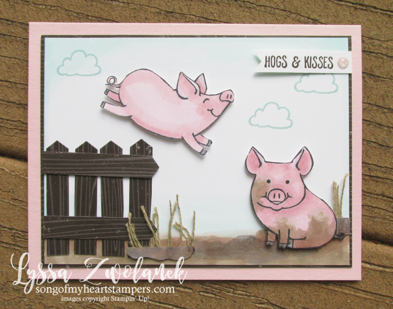 This Little Piggy stampin up class month tutorial escape cardmaking DIY pig piggies farm blends
