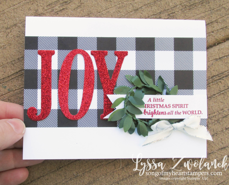 Joy Wreath Card Christmas holiday Stampin Up Lyssa Shop cardmaking DIY hunter plaid flannel