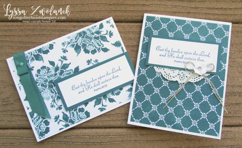 Fresh Florals paper Stampin Up scripture verse cards Bible Lyssa Tranquil Tide in color
