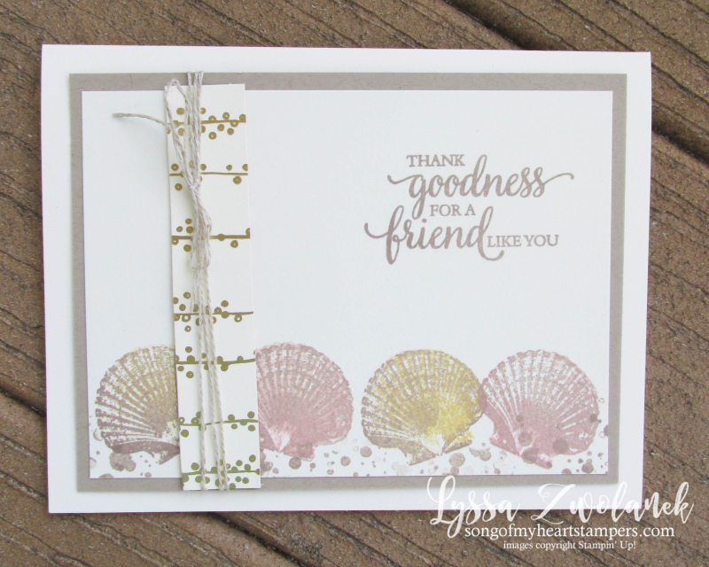So Many Shells easy thank you card rubber seashore stamps sea seashells beach sand Lyssa