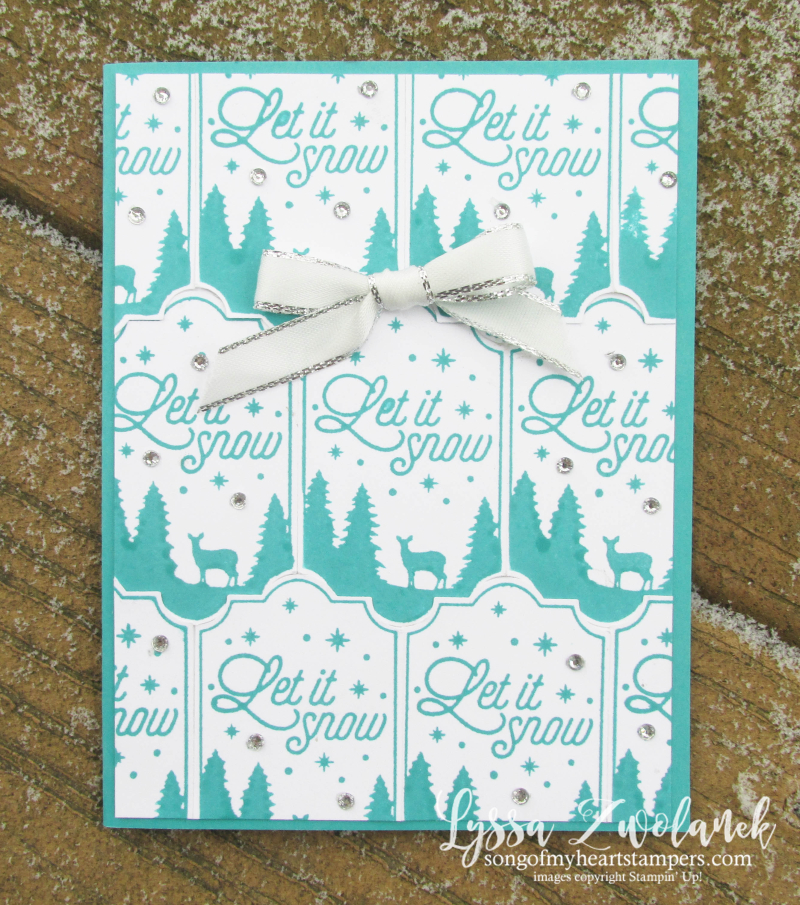Let it snow stamp Merry Label punch background technique stampin up rubber punches