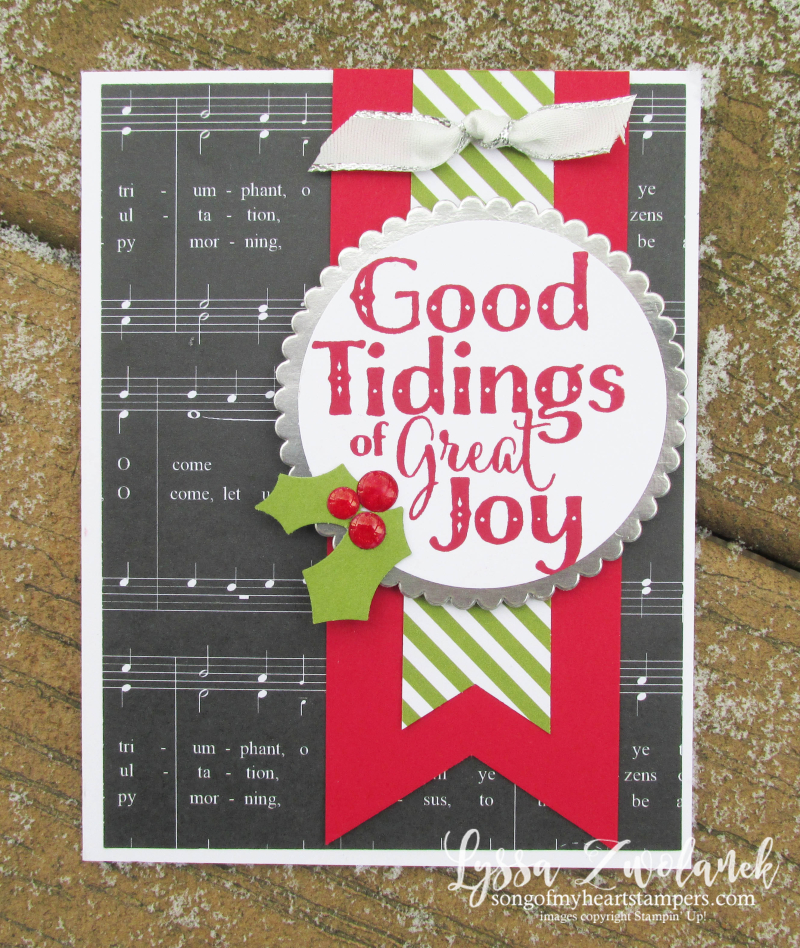 Good tidings of great joy christmas holiday card Stampin Up music merry holly berries