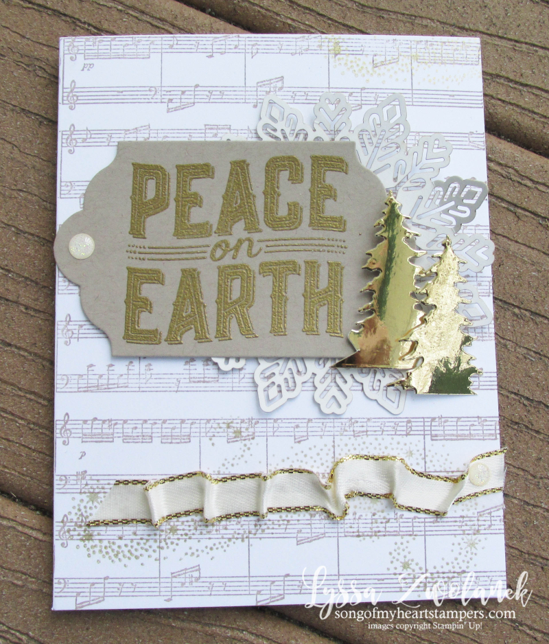 Peace on earth carols Christmas holiday cards deck halls cardmaking sheet music Lyssa stampin up