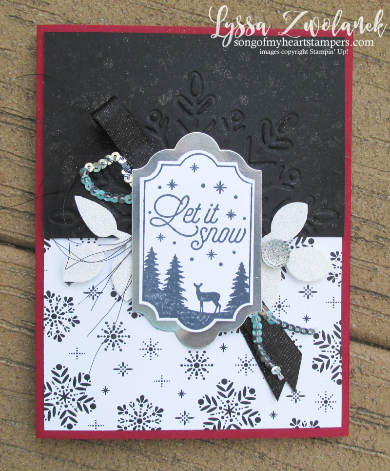 Merry Little Labels everyday label punch stampin up snowflake deer let it snow Lyssa card