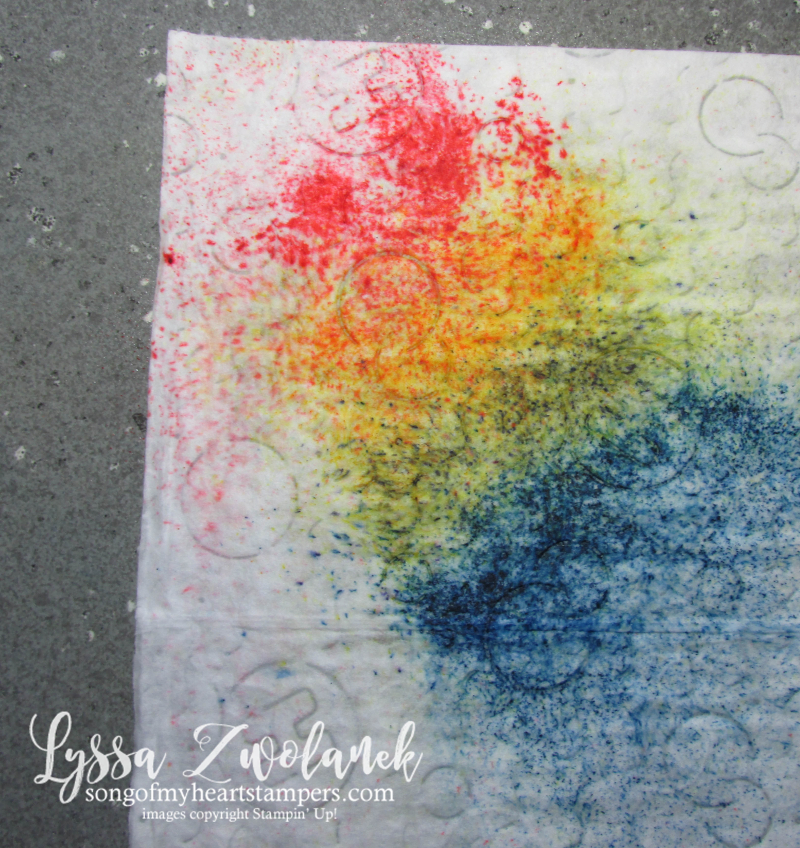 Easy Brusho Rainbow Baby Wipe technique background crystals aqua painters stampin up