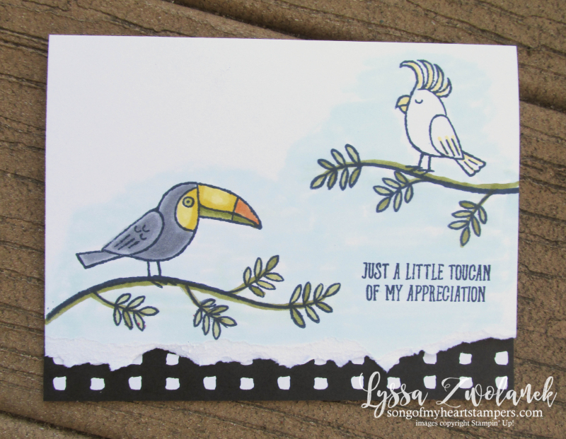 Bird Banter card stamps birds stampin up cockatoo Lyssa toucan tropical parrot