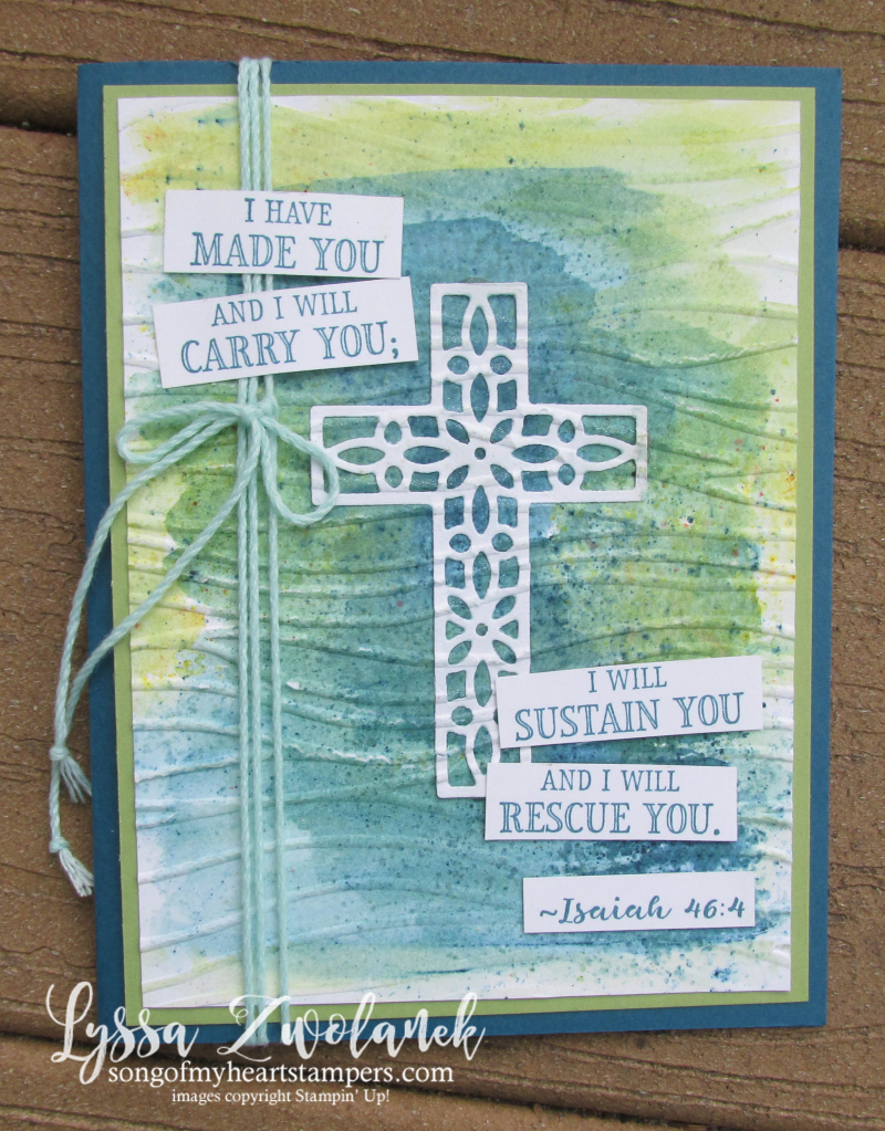 Hold Onto Hope Christian scripture bible verse cross diecut Stampin Up Lyssa rubber stamps Brusho
