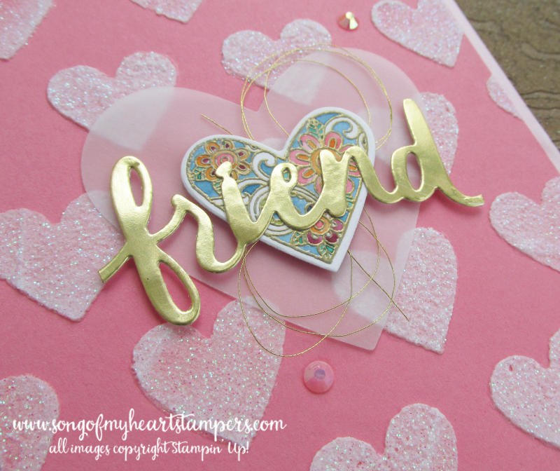 Glitter embossing paste valentine stencil masks gold foil diecut cardstock Stampin Up metallic Lyssa